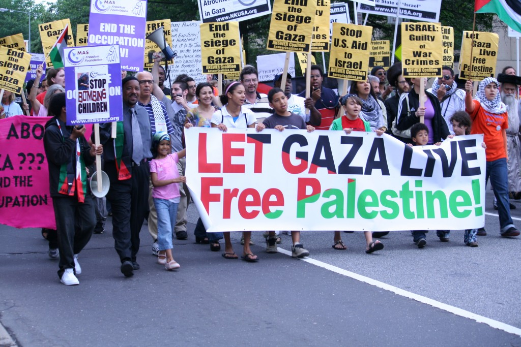 A pro-Palestinian rally in front of the Israeli embassy in Washington, June 2009. Photo: marisseay / flickr