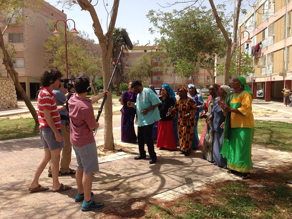 The staff of Israel Story interviews the Dimona Gospel Choir. Photo: Bari Finkel