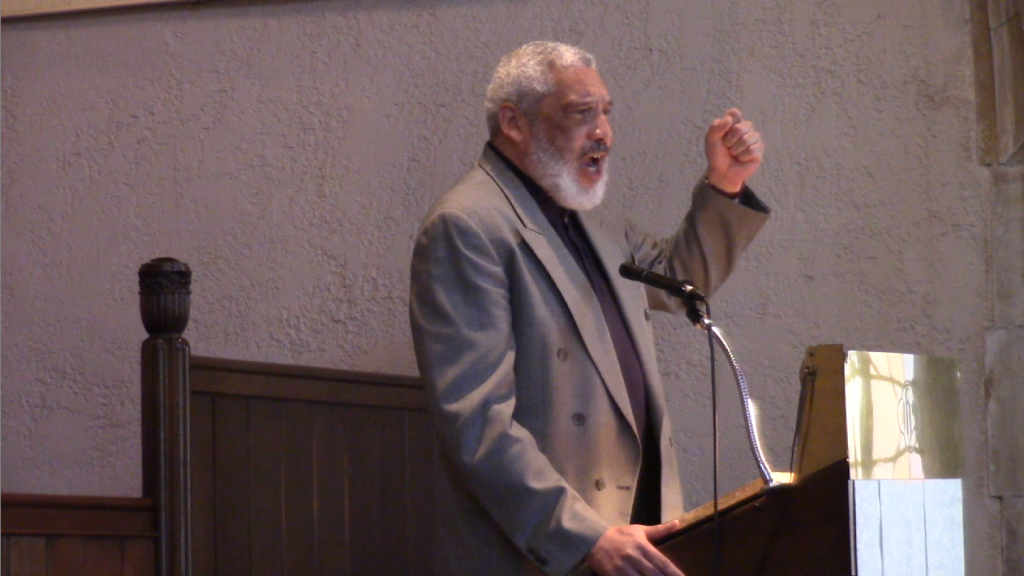 Rev. Graylan S. Hagler, Senior Minister of the Plymouth Congregational United Church of Christ of Washington, DC, speaking at the Sabeel DC Metro 4th Annual Spring Program on May 2, 2015 at the Sixth Presbyterian Church. Photo: ZSE4321qwe / YouTube