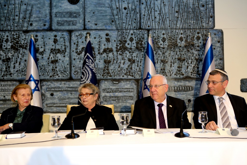 Israeli President Reuven Rivlin participates in a 929 study session at his residence. Photo: Dafna Talmon