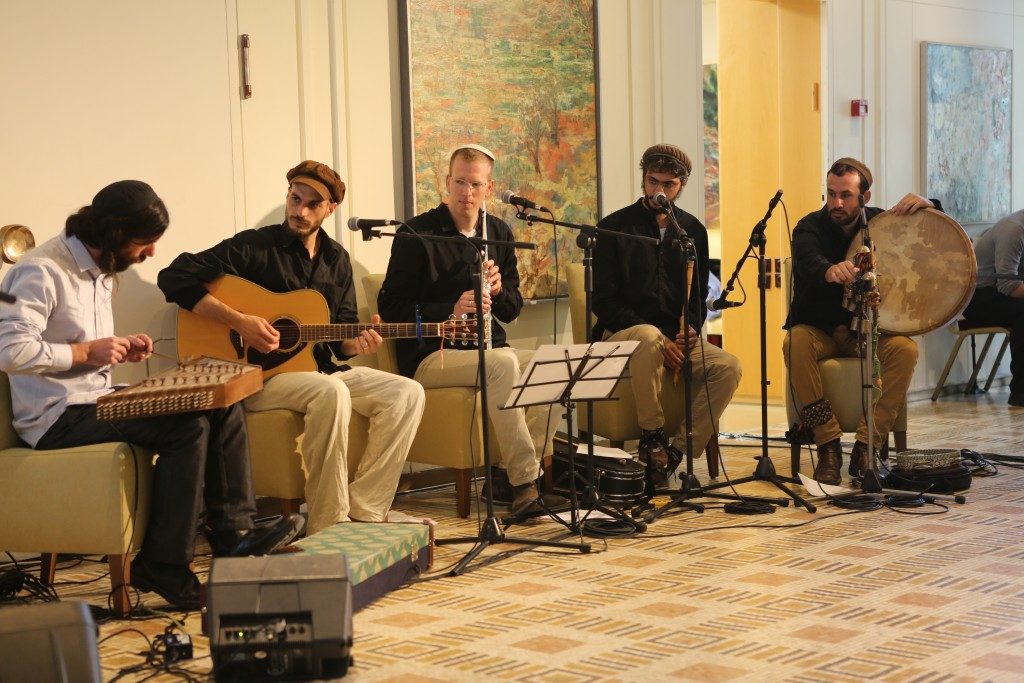 A band performs at a 929 study session at the presidential residence in Jerusalem. Photo: Dafna Talmon