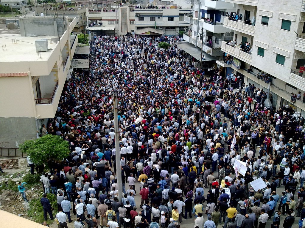 An anti-Assad demonstration in the Syrian city of Baniyas, April 29, 2011. Photo: Syria Frames of Freedom / Wikimedia
