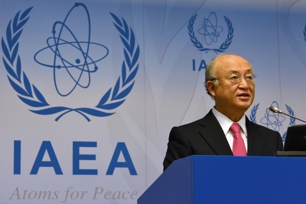IAEA Director General Yukiya Amano briefs the media during the 1383rd IAEA Board of Governors meeting in Vienna, September 15, 2014. Photo: Dean Calma / IAEA
