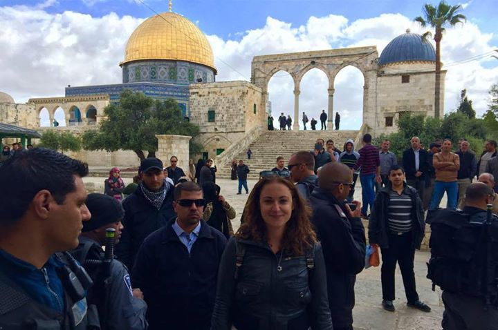 The author on the Temple Mount, surrounded by police officers for her own protection. Photo: Annika Hernroth-Rothstein