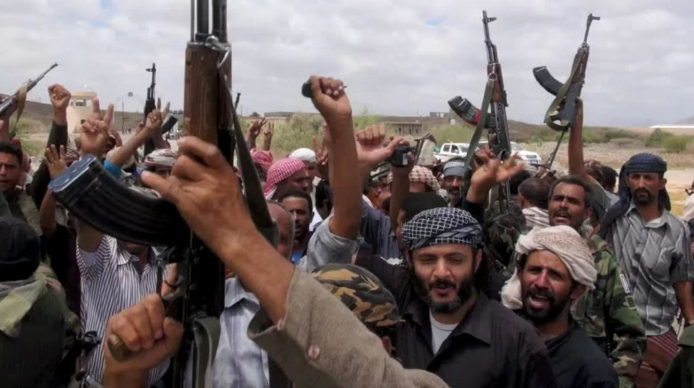 Houthi fighters at a rally. Photo: Wochit News / YouTube