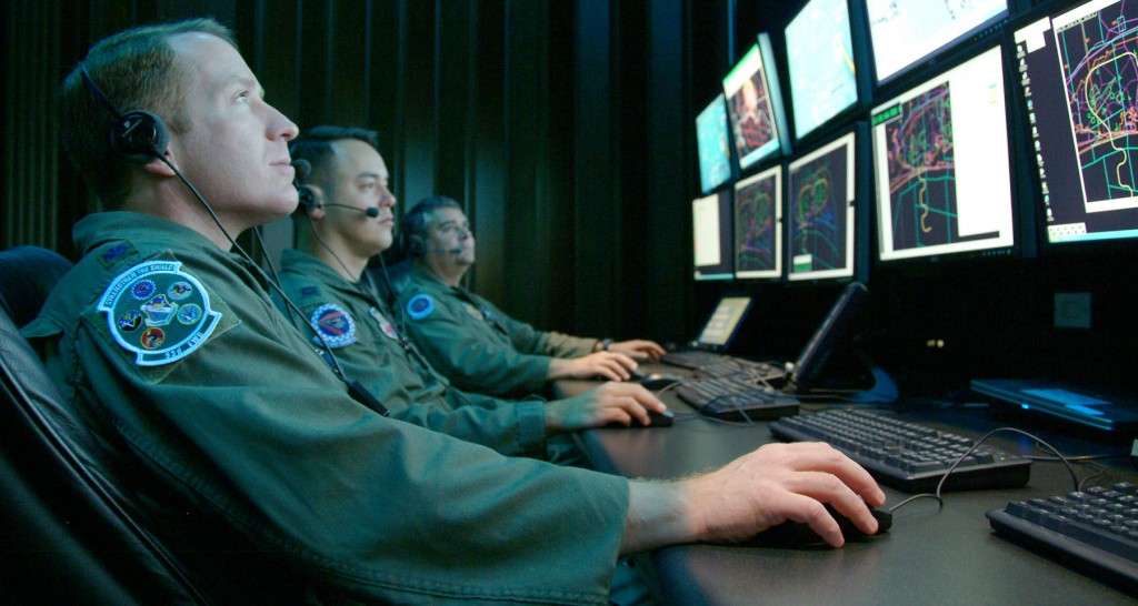 The U.S. military monitors a simulated electronic warfare test at Eglin Air Force Base. Photo: Capt. Carrie Kessler / U.S. Air Force / Wikimedia