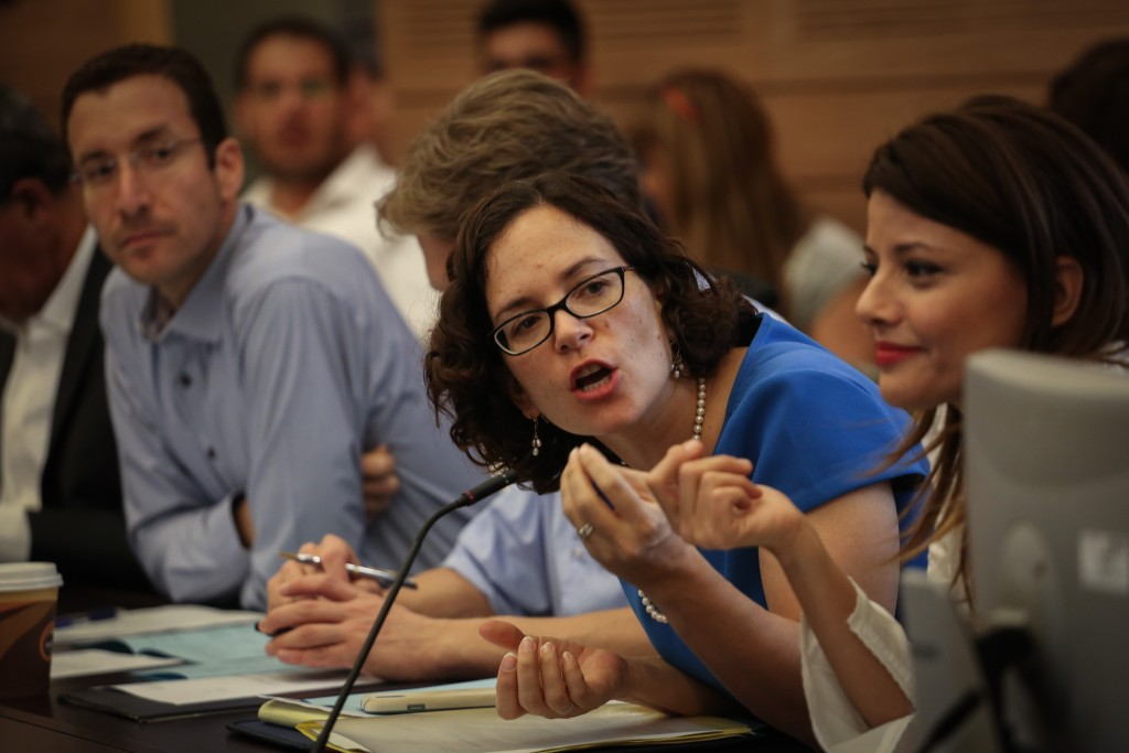 Kulanu MK Rachel Azaria attends a Knesset Finance Committee meeting on a proposal to raise the land tax, June 22, 2015. Photo: Hadas Parush / Flash90