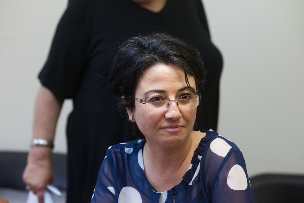 Joint Arab List MK Hanin Zoabi attends the weekly party meeting at the Knesset, June 29, 2015. Photo: Miriam Alster / Flash90