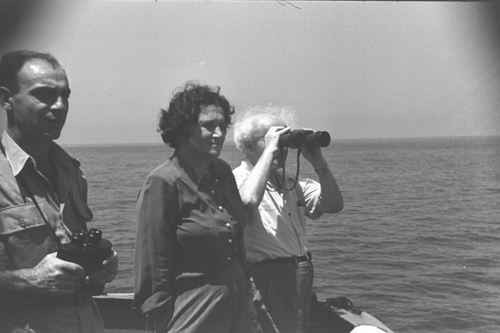 Israeli Prime Minister David Ben-Gurion and his wife Paula take a cruise on the Mediterranean Sea, July 1949. Photo: Government Press Office / Wikimedia