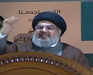 "Hezbollah leader Hassan Nasrallah delivers a 2013 speech entitled ""Palestine, from River to Sea, Must be Returned to Real Owners."" Photo: TheKeysToEternity / YouTube"