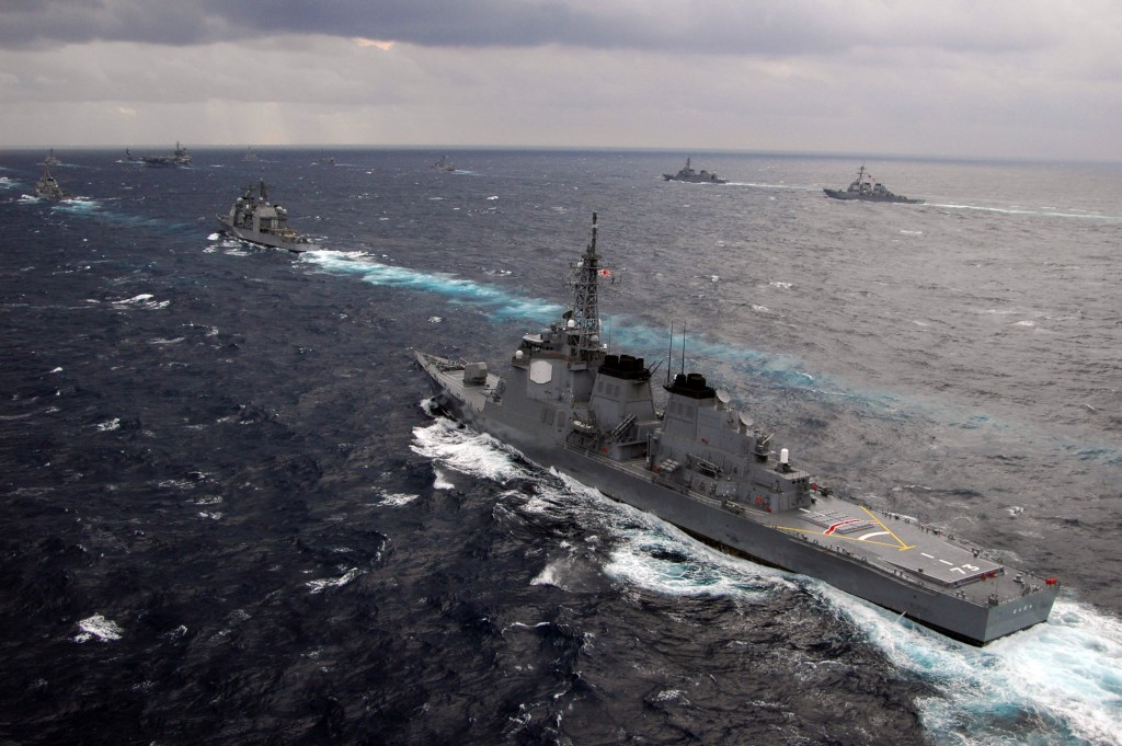 The Japan Maritime Self-Defense Force  destroyer JDS Kongou sails in formation with other JMSDF ships. Photo: Todd Cichonowicz / U.S. Navy / Wikimedia
