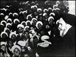 Ayatollah Khomeini denounces the Shah in Qom, 1964.
