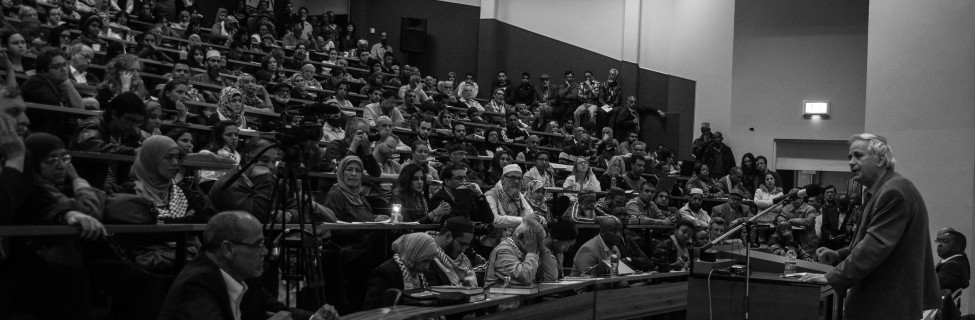 """The University of Johannesburg Palestine Solidarity Forum hosts Israeli historian Ilan Pappe and South African Minister of Higher Education Blade Nzimande for a talk on how boycotts can be used to oppose """"Israeli Apartheid."""" Photo: Meraj Chhaya / flickr"""