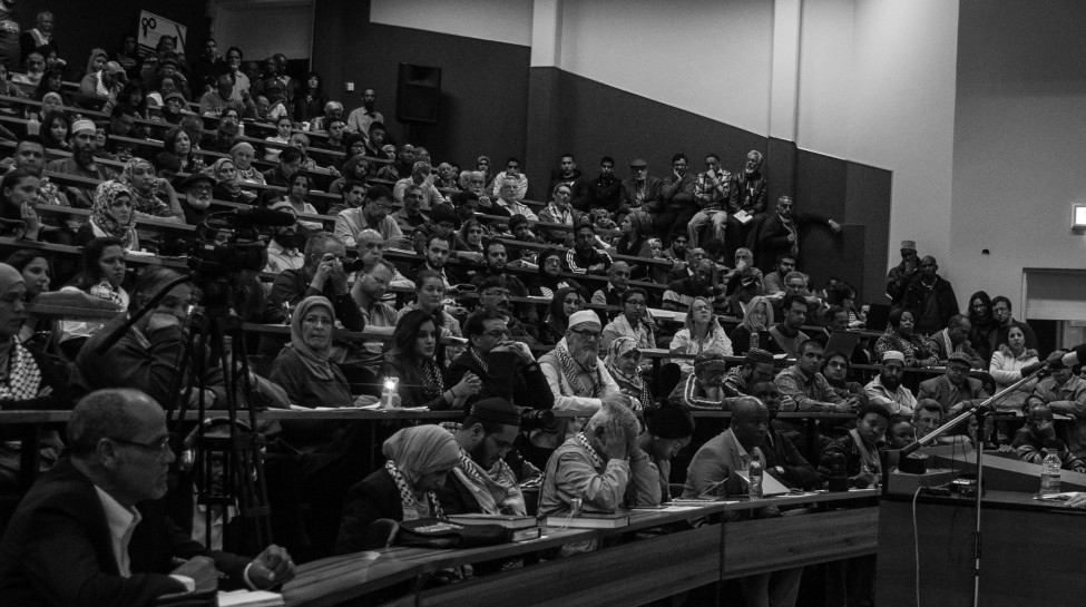 "The University of Johannesburg Palestine Solidarity Forum hosts Israeli historian Ilan Pappe and South African Minister of Higher Education Blade Nzimande for a talk on how boycotts can be used to oppose ""Israeli Apartheid."" Photo: Meraj Chhaya / flickr"
