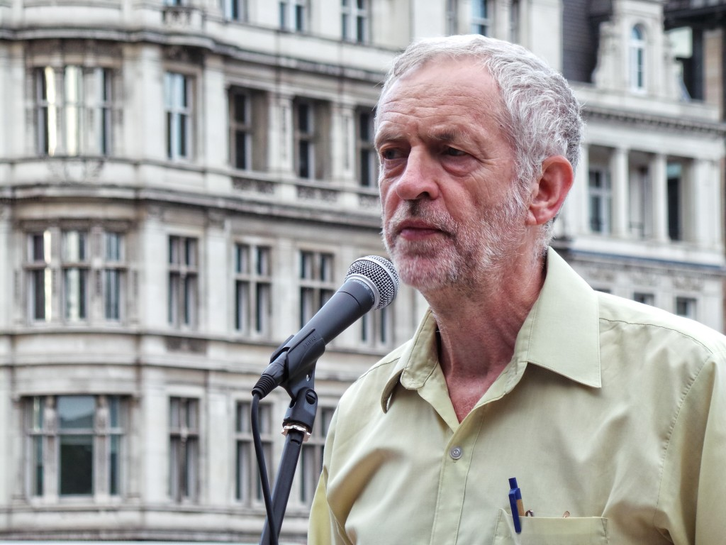 Jeremy Corbyn speaks at the No More War rally in 2014 in Parliament Square on the 100th anniversary of Britain joining World War I. Photo: Garry Knight / Wikimedia