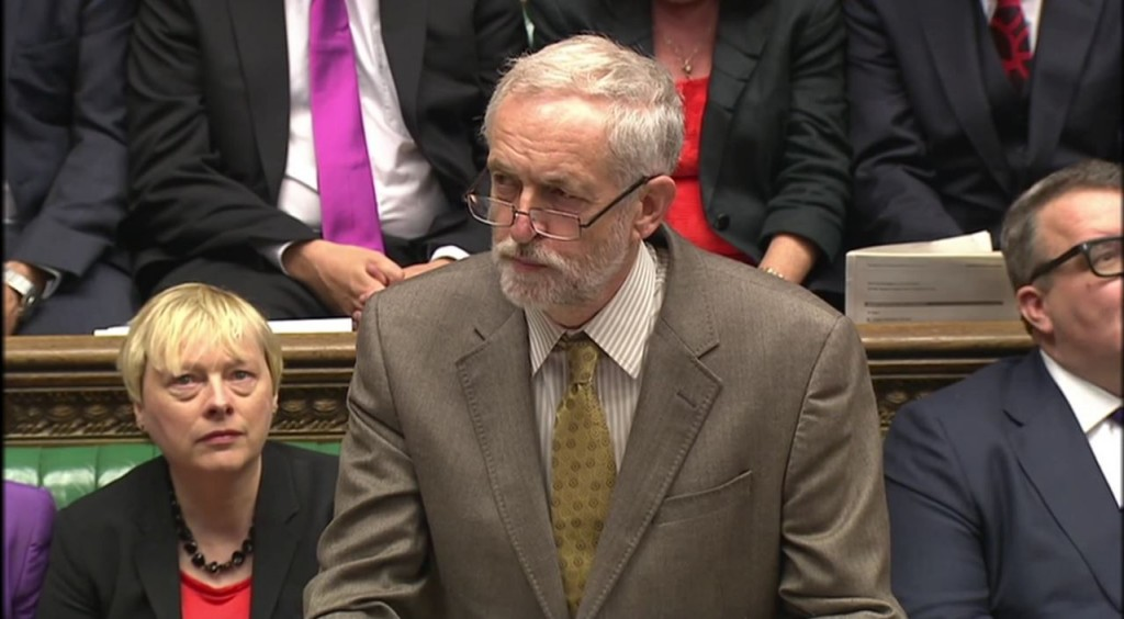 Jeremy Corbyn at his first Prime Minister's Questions session as leader of the Labour Party. Photo: Channel 4 News / YouTube