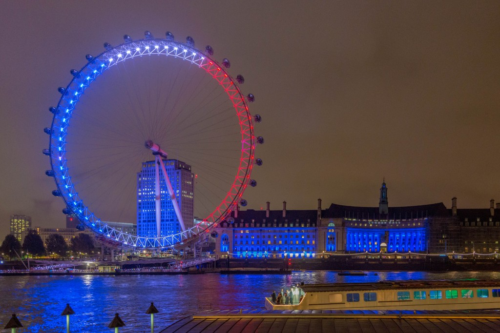 The London Eye is lit in the colors of the French flag following the Paris terror attacks. Photo: Jack Gordon / WIkimedia