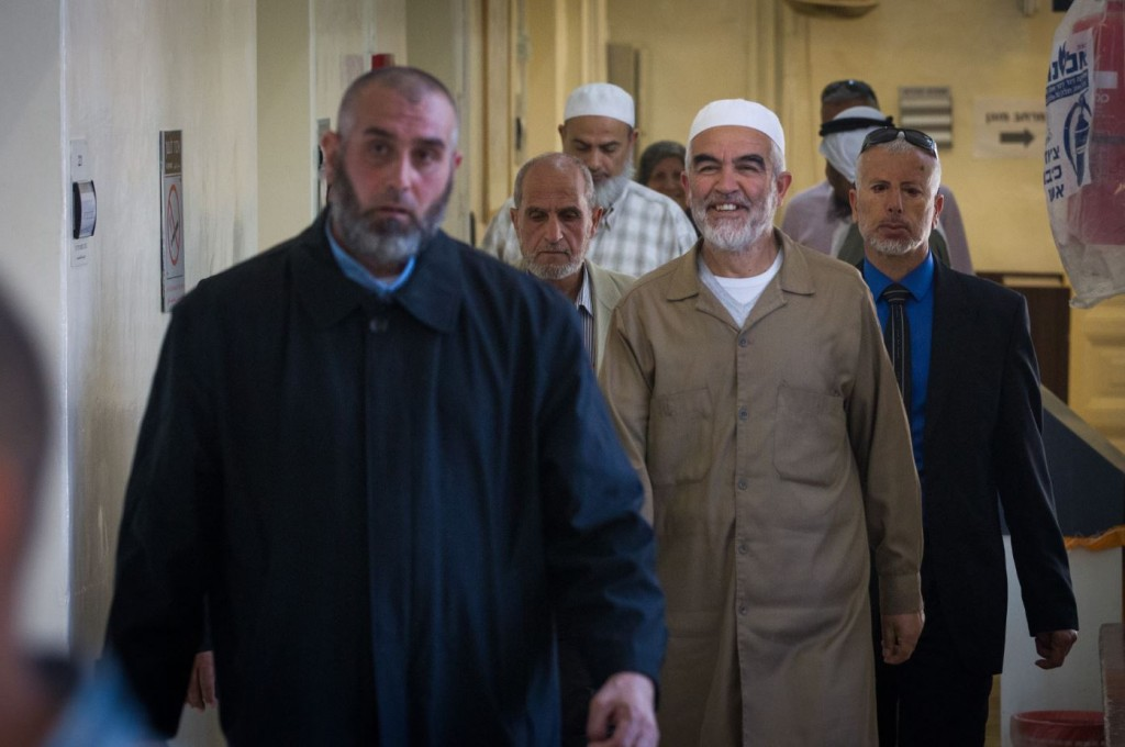 Sheikh Raed Salah arrives at the Jerusalem magistrate court to receive his sentence for incitement to violence and racism against Jews, March 26, 2015. Photo: Miriam Alster / Flash90