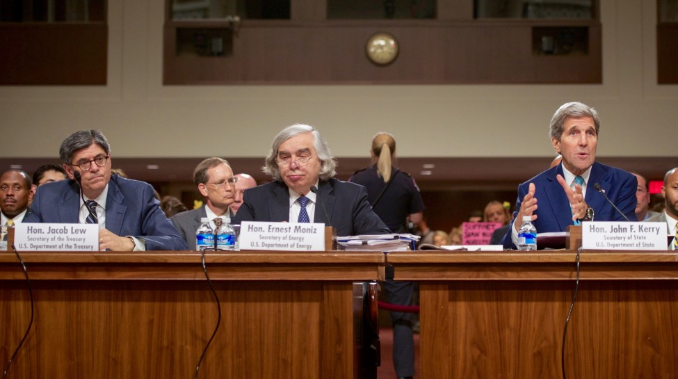 From left: Treasury Secretary Jack Lew, Energy Secretary Ernest Moniz, and Secretary of State John Kerry defend the nuclear deal before the Senate Foreign Relations Committee. Photo: U.S. Department of State / Wikimedia