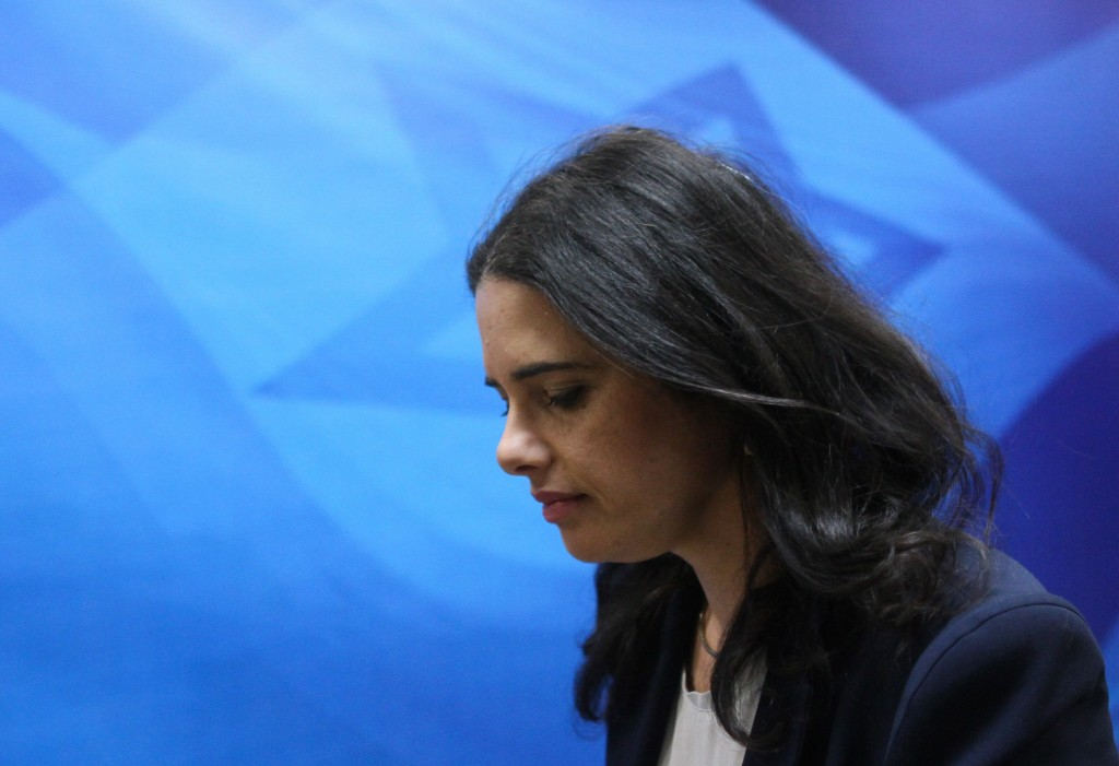 Justice Minister Ayelet Shaked arrives at the weekly cabinet meeting at Prime Minister Benjamin Netanyahu's office, January 3, 2016. Photo: Alex Kolomoisky / Flash90