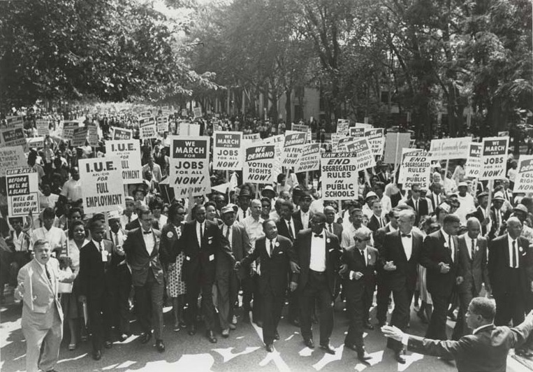 Martin Luther King leads the march on Washington. Among the marchers is Rabbi Joachim Prinz. Photo: American Jewish Historical Society / Wikimedia