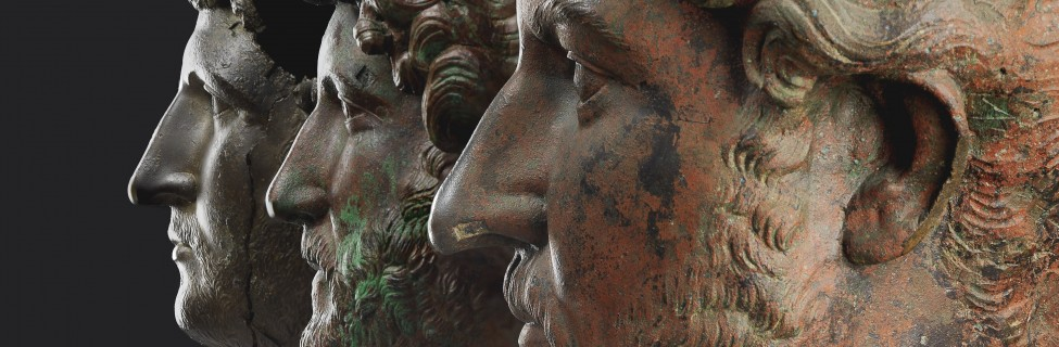 Bronze heads of Hadrian, 117–138 CE. Photo: Elie Posner / The Israel Museum
