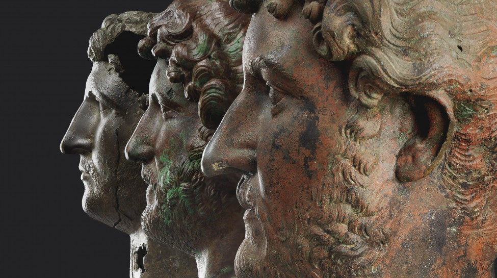 Bronze heads of Hadrian, 117–138 CE. Photo: Elie Posner / The Israel Museum