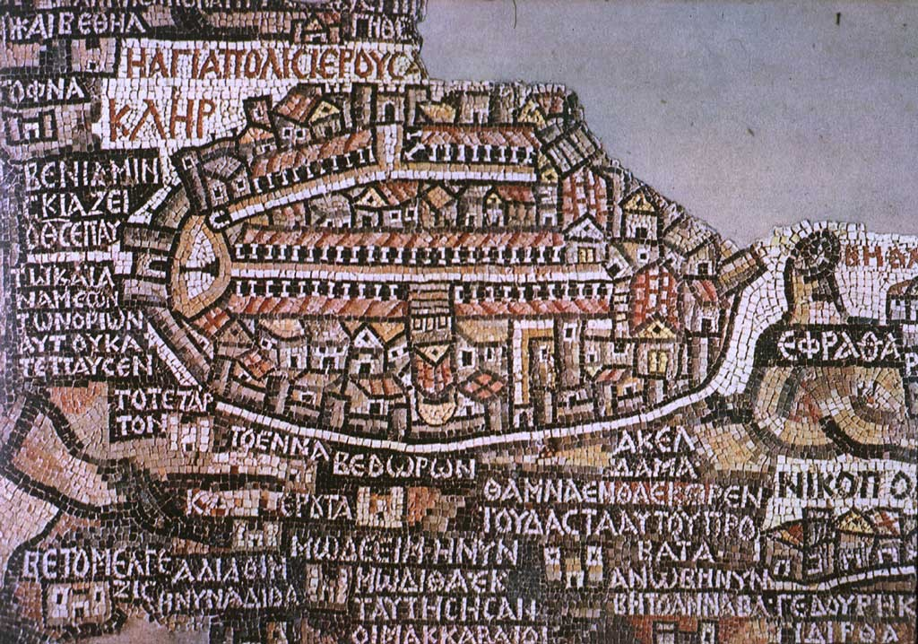 A 6th-century mosaic map in Jordan shows Aelia Capitolina. Photo: Brandmeister / Wikimedia