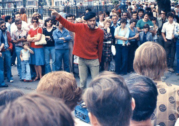 An orator at Speakers Corner in London's Hyde Park, 1974. Photo: George Louis / Wikimedia