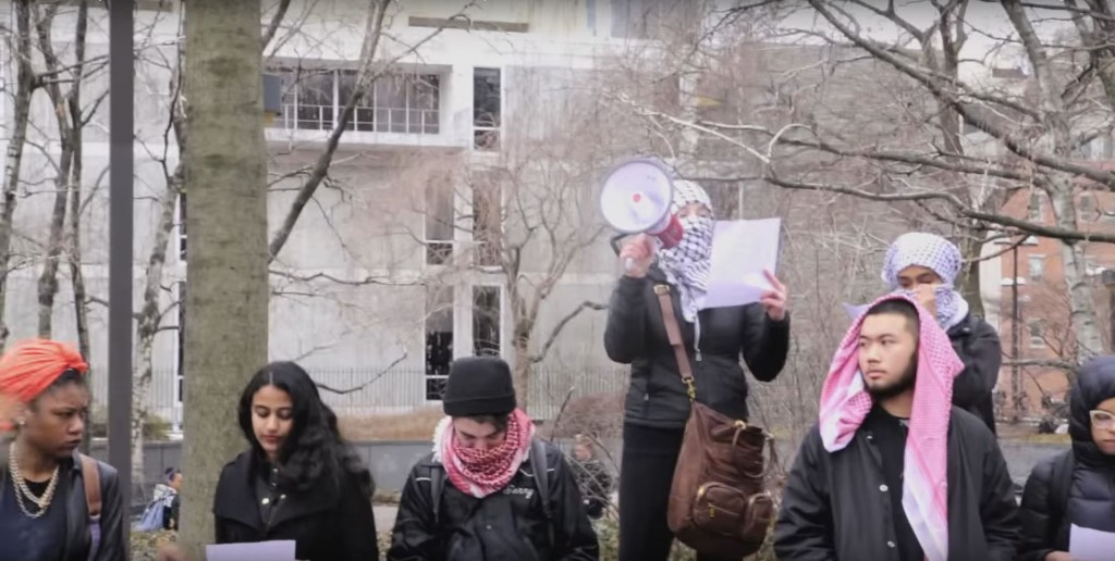 Temple Students for Justice in Palestine held a flash mob to protest Israel. Photo: Levi Gikandi / YouTube