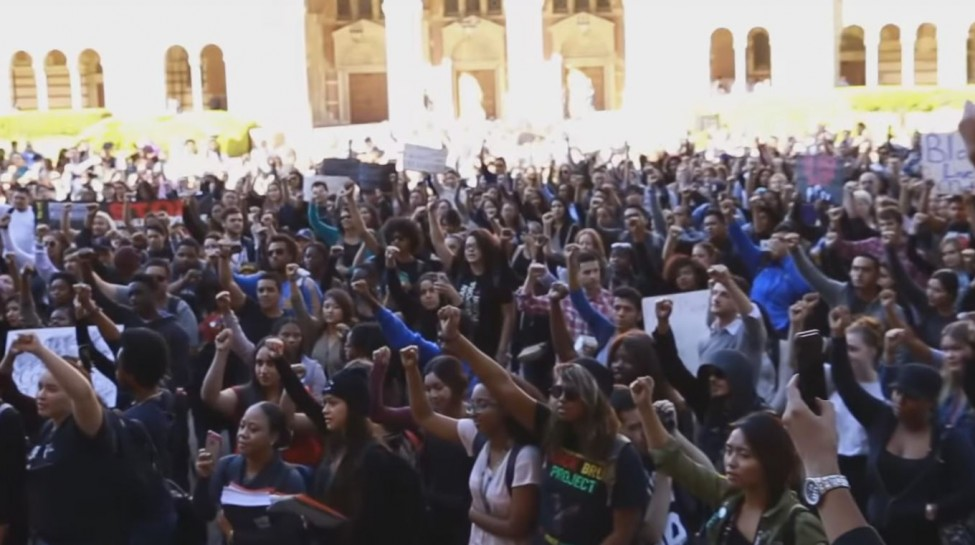 UCLA students gathered to stand in solidarity with black students on the University of Missouri campus. UCLA faculty and the Afrikan Student Union led the rally in support of the protests occurring on other campuses and to bring awareness to issues impacting UCLA's black community. Photo: UCLA Daily Bruin / YouTube
