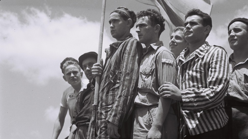 Buchenwald survivors arrive in Haifa only to be arrested by the British, 1945. Photo: Wikimedia