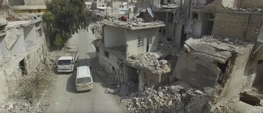 Entire neighborhoods of Aleppo were destroyed in the fighting. Photo: BBC News / YouTube
