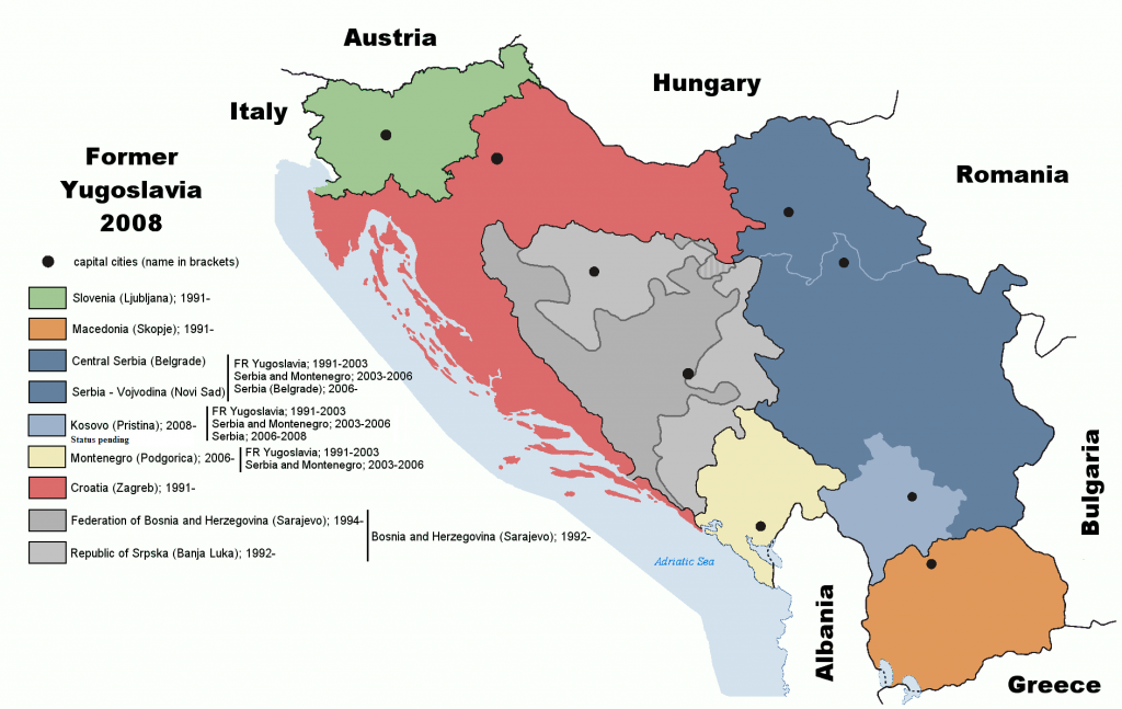 Seven independent states eventually emerged from the former Yugoslavia. Photo: Wikimedia