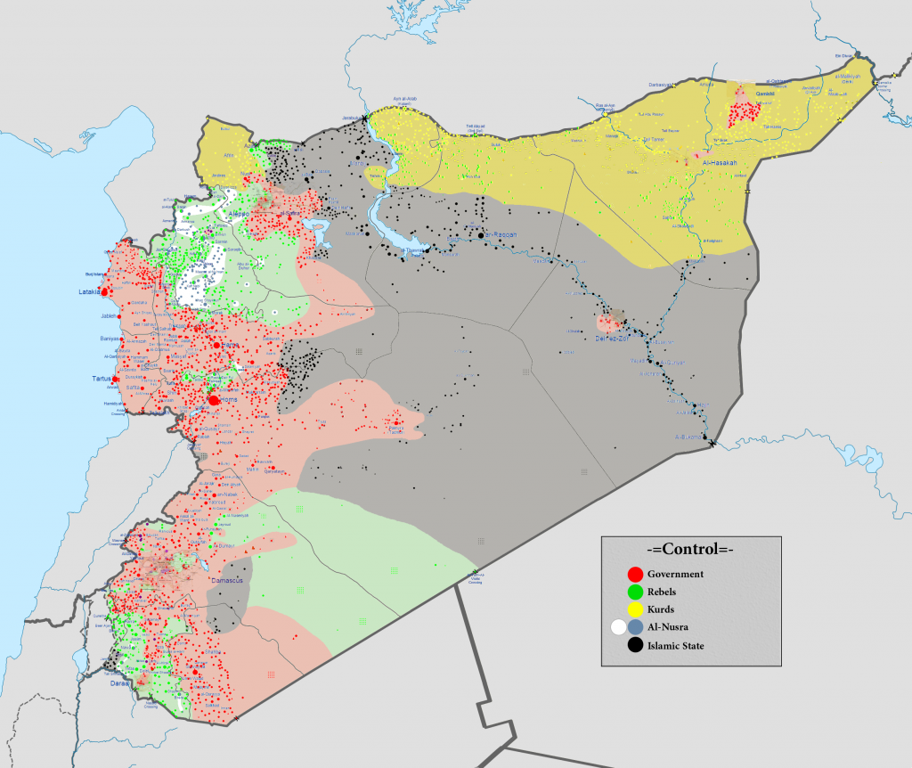 The current military situation in Syria. Photo: Wikimedia