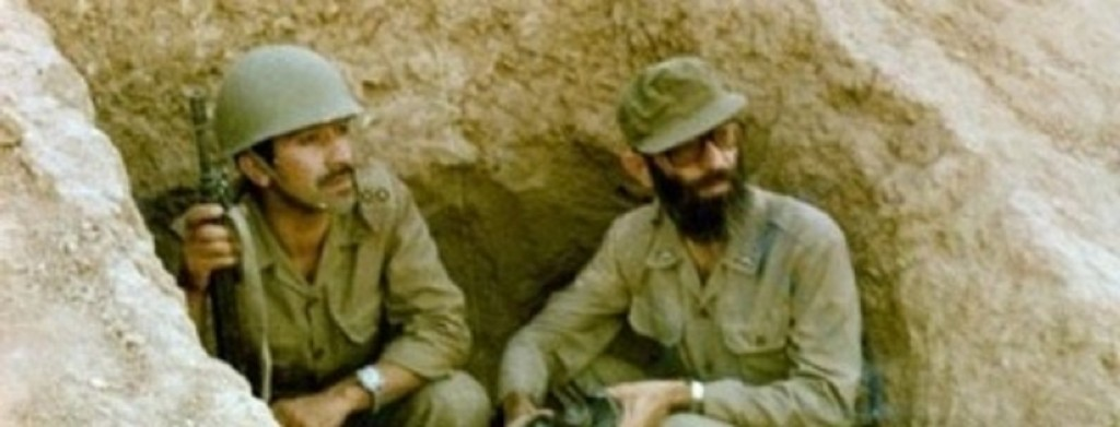 Ali Khamenei (right), now the Supreme Leader of Iran, in a trench during the Iran-Iraq War. Photo: Wikimedia