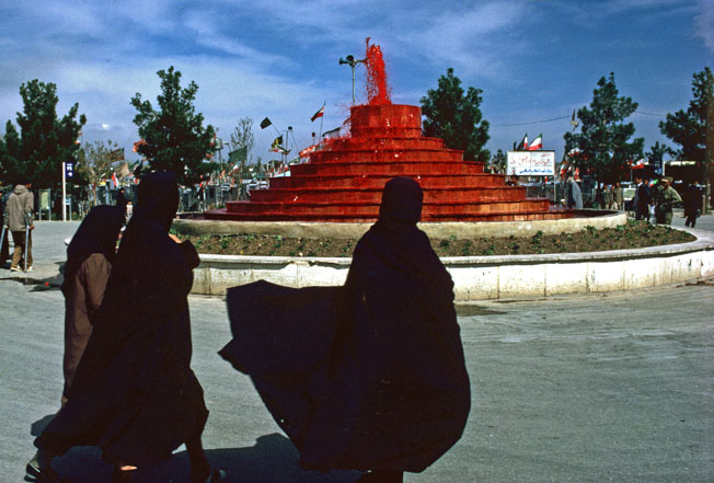 The Blood Fountain in Tehran's Beheshte Zahra cemetery, April 1984. Photo: Arash Golbon