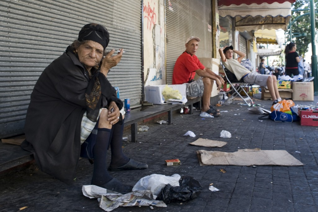 A homeless woman in Neve Sha'anan. Photo: Matanya Tausig / Flash90