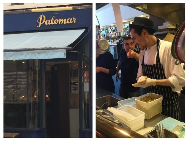 Outside and inside the Palomar. A sous chef makes lentil and cod falafels. Photo: Danielle Crittenden Frum