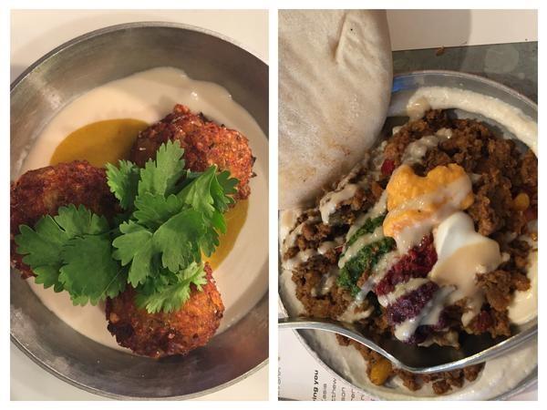 Left: Palomar's cod falafels. Right: shakshukit. Photo: Danielle Crittenden Frum