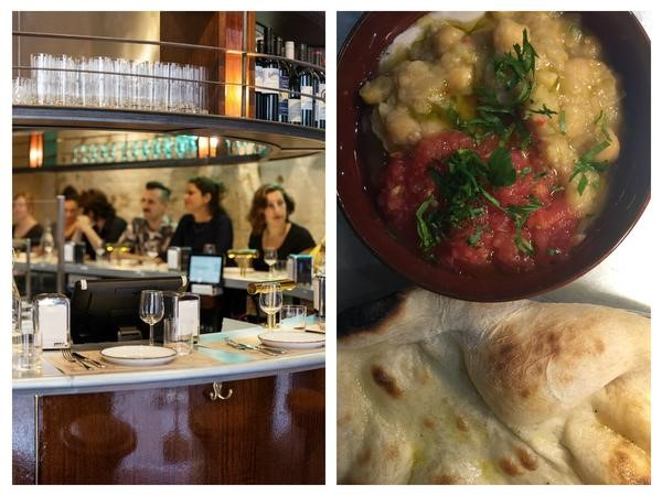 Left: The Barbary's horseshoe bar; Right: my plate of masabacha. Restaurant photo courtesy of The Barbary.