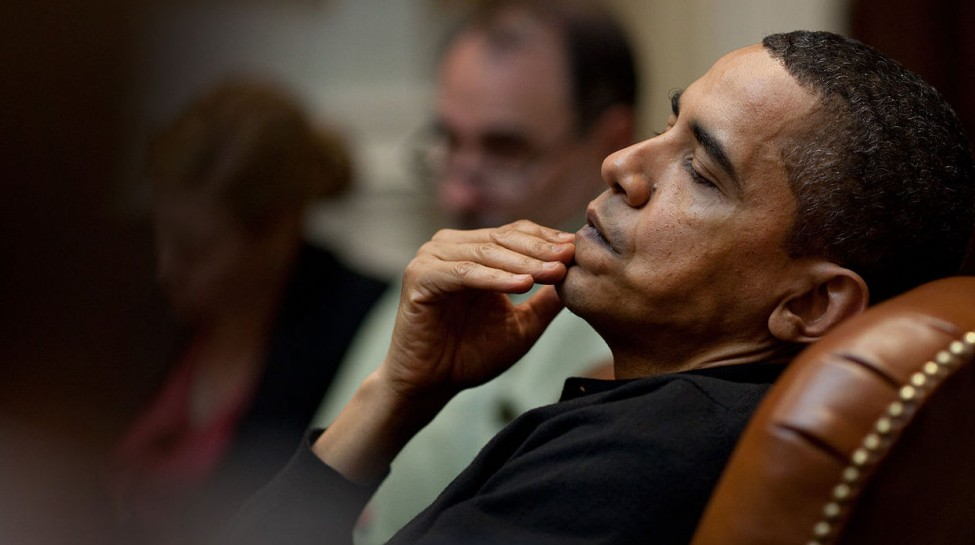 President Obama reflects during an economic meeting with advisors in the Roosevelt Room, March 15, 2009. Photo: Pete Souza / White House