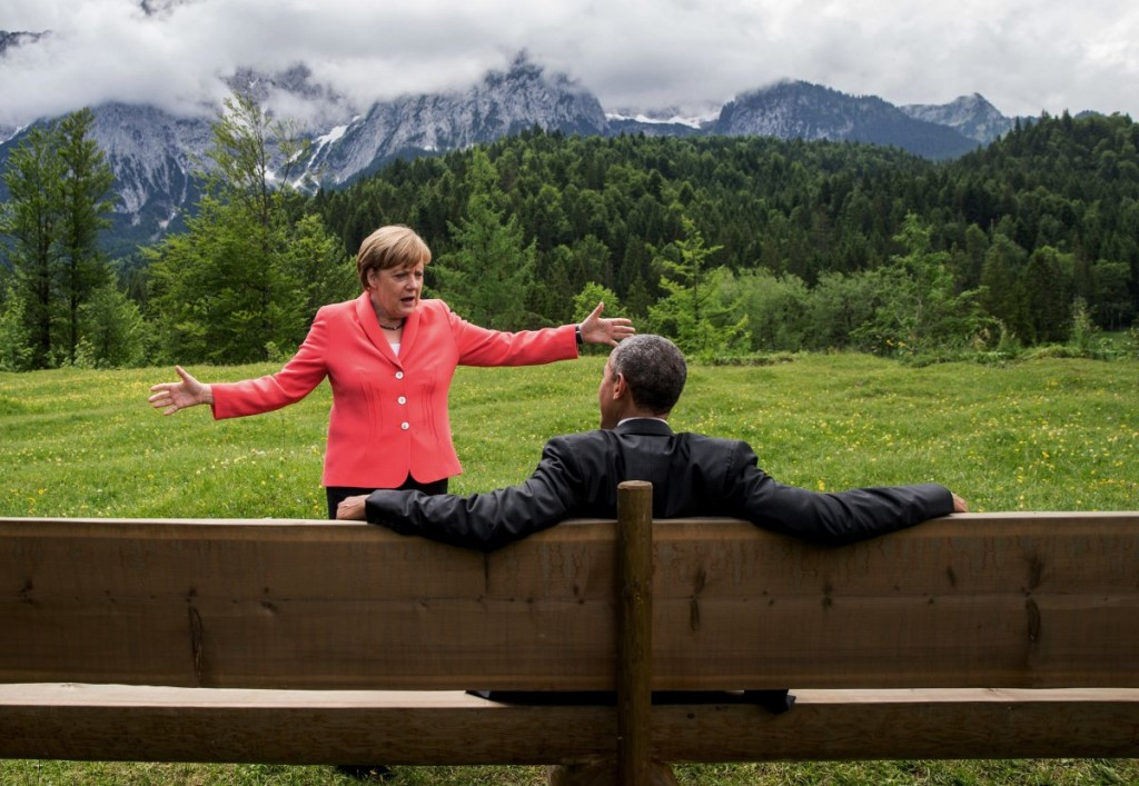President Barack Obama speaks with German Chancellor Angela Merkel at the G7 Summit in Krün, Germany, June 8, 2015. Photo: Pete Souza / White House