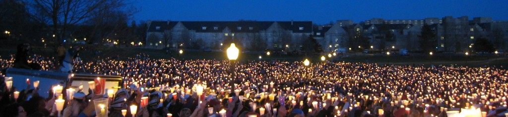 A candlelight vigil for the victims of the Virginia Tech massacre, April 2007. Photo: Wikimedia