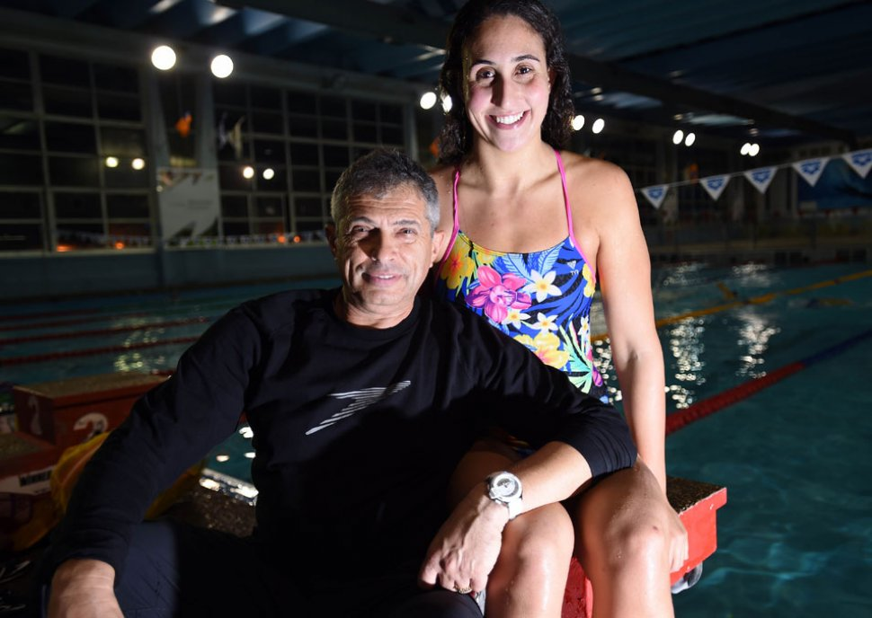 Andrea Murez and national team coach Leonid Kaufman. Photo: Bernie Ardov / Walla!