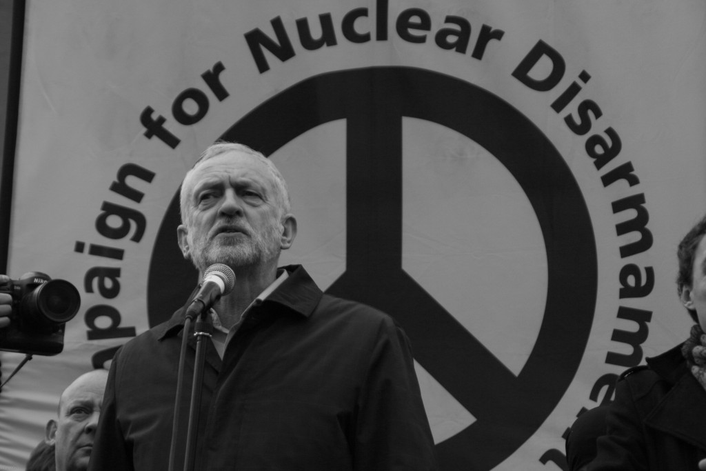 Jeremy Corbyn at a rally to protest against Trident, Britain's nuclear weapons program. Photo: Steve Eason / flickr. Used under Creative Commons 2.0 License