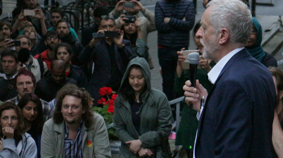Jeremy Corbyn speaks to members of the advocacy group Momentum, June 29, 2016. Photo: Steve Eason / flickr. Used under Creative Commons 2.0 License
