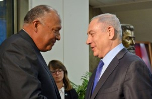 Prime Minister Benjamin Netanyahu meets with Egypt's Foreign Minister Sameh Shoukry at the Prime Minister's office in Jerusalem, on July 10, 2016, during a visit to Israel for the first time in nearly a decade. Foreign Minister Shoukry came to meet Netanyahu to support the peace process between Israel and the Palestinians. Photo by Haim Zach/GPO *** Local Caption *** ????? ???? ?? ???? ???? ????? ????? ????? ???? ????? ??????? ??? ?????? ?????? ??????