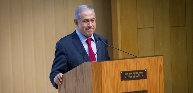 Israeli Prime Minister Benjamin Netanyahu speaks at an event organized by Likud parliament member Anat Berko (not seen) for Israeli female soldiers, in the Israeli parliament, on July 12, 2016. Photo by Miriam Alster/FLASH90 *** Local Caption *** ??? ?????? ?????? ?????? ???? ????