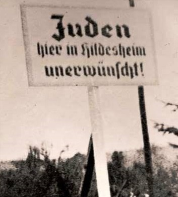 "A sign that reads ""Jews are not wanted in Hidelsheim,"" 1935. Photo: Yad Vashem"